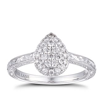 Neil Lane 14ct White Gold 0.29ct Diamond Pear Halo Ring - Product number 4150732