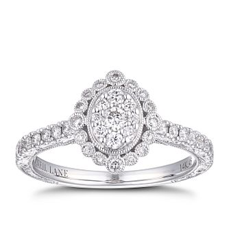 Neil Lane 14ct White Gold 0.45ct Diamond Oval Halo Ring - Product number 4150864