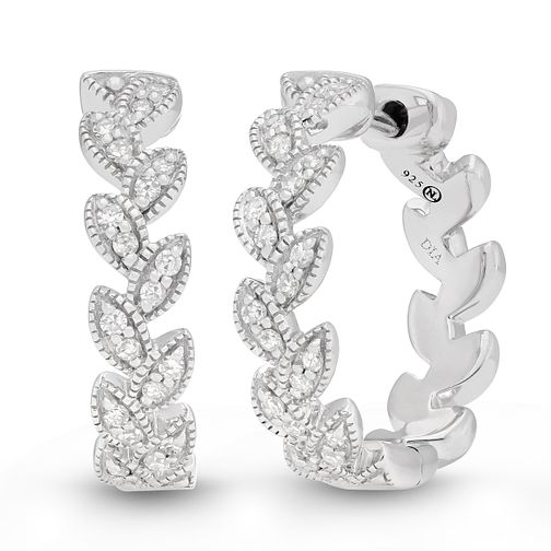 Neil Lane Designs Silver 0.15ct Diamond Leaf Hoop Earrings - Product number 4151054