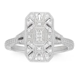 Neil Lane Designs Silver 0.10ct Total Diamond Rectangle Ring - Product number 4151089