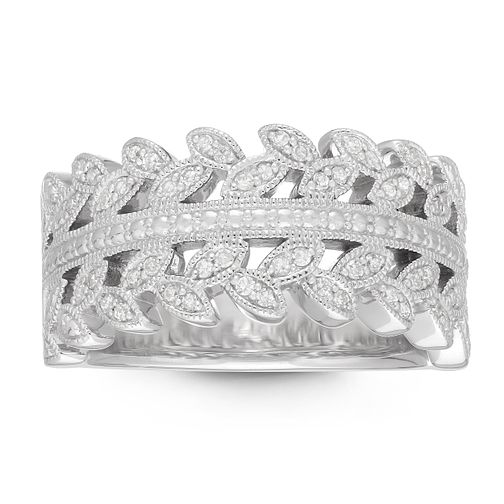 Neil Lane Designs Silver 0.19ct Diamond Leaf Wide Ring - Product number 4151240