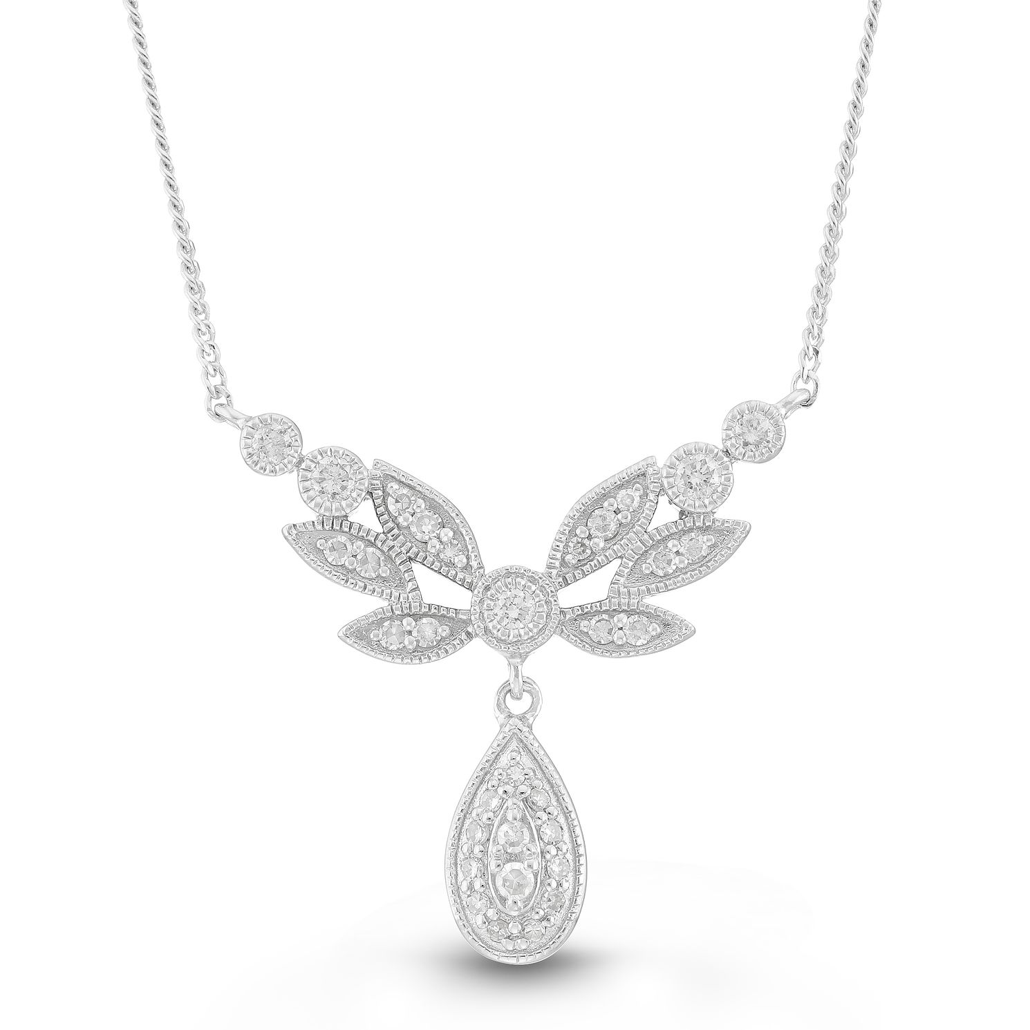 Neil Lane Designs Silver 0.15ct Diamond Leaf Drop Pendant - Product number 4151585