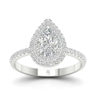 The Diamond Story 18ct White Gold 3/4ct Diamond Pear Ring - Product number 4152387