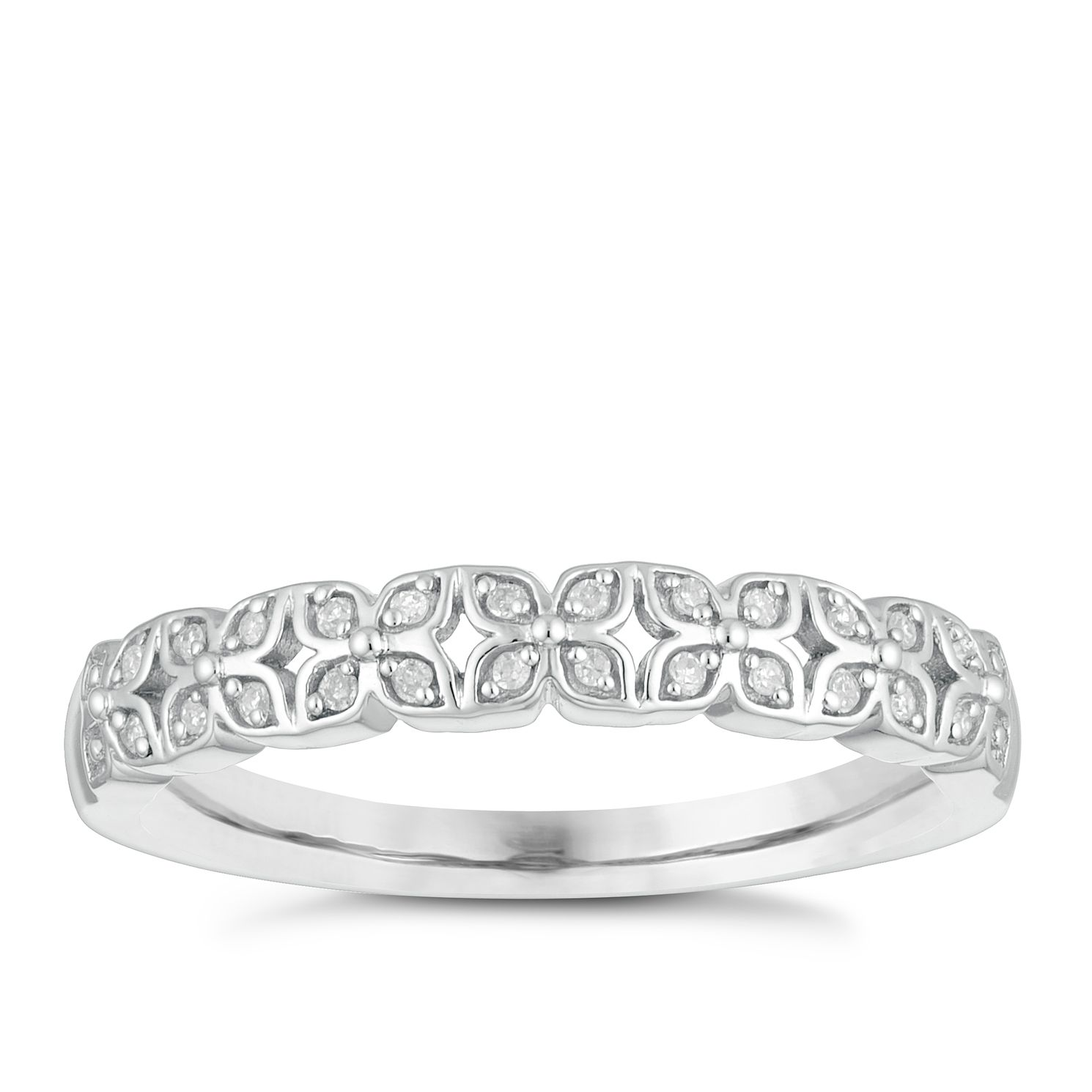 9ct White Gold Diamond Flower Wedding Ring - Product number 4152654