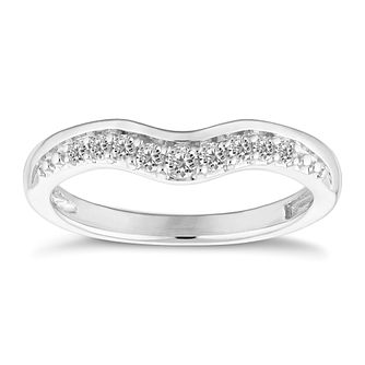 9ct White Gold 0.15ct Diamond Wishbone Ring - Product number 4153472