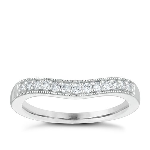 9ct White Gold 0.15ct Diamond Shaped Milgrain Wedding Ring - Product number 4153707