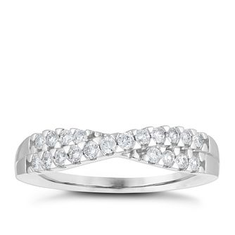 18ct White Gold 0.25ct Diamond Crossover Wedding Ring - Product number 4153863