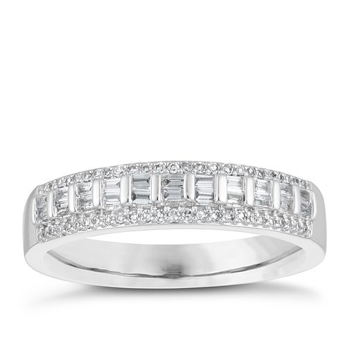 18ct White Gold 0.20ct Diamond Bar Set Wedding Ring - Product number 4154282