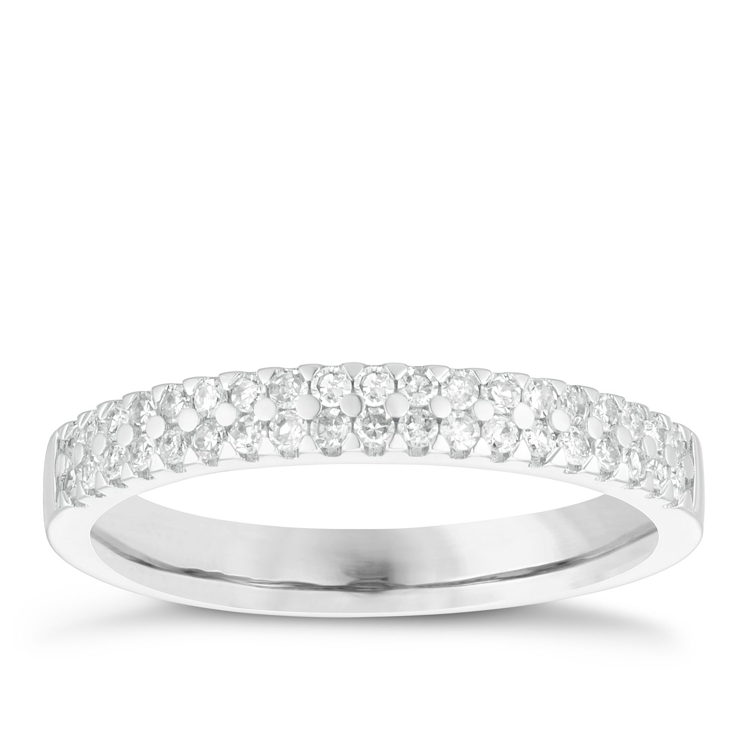 18ct White Gold 0.25ct Diamond Double Row Wedding Ring - Product number 4154606