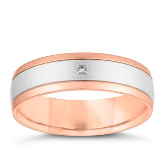 9ct Rose Gold Brushed Palladium Diamond Wedding Ring - Product number 4156994