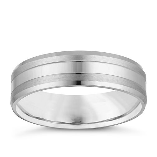 9ct White Gold Matte and Brushed Metal Wedding Ring - Product number 4158326