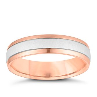 9ct White And Rose Gold Matte 5mm Wedding Ring - Product number 4160436