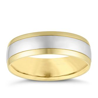 18ct White and Yellow Gold 6mm Court Wedding Ring - Product number 4161084
