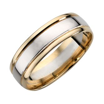 9ct Yellow And White Gold Wedding Band - Product number 4162072