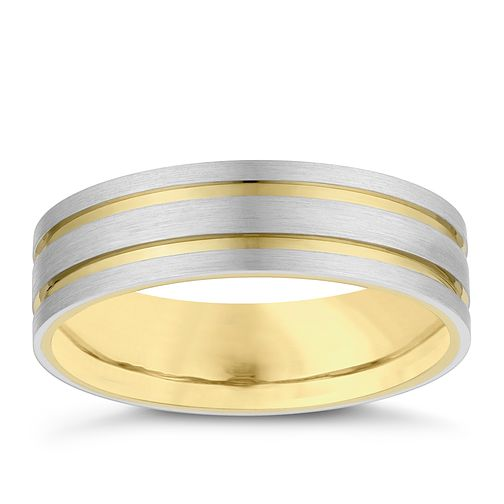 Palladium 9ct Yellow Gold 6mm Groove Wedding Ring - Product number 4163494