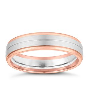 Palladium and 9ct Rose Gold 5mm Brushed Groove Wedding Ring - Product number 4163613