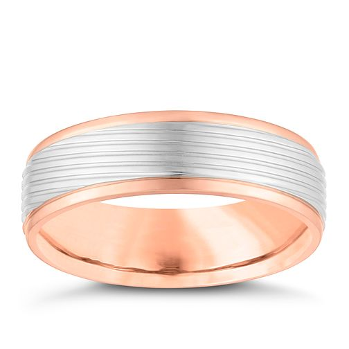 Palladium and 9ct Rose Gold 6mm Wedding Ring - Product number 4163745