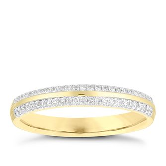 9ct Yellow Gold 0.13ct Double Row Wedding Ring - Product number 4164865