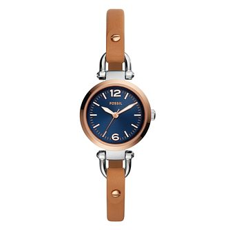 Fossil Georgia Ladies' Two Colour Blue Strap Watch - Product number 4166663