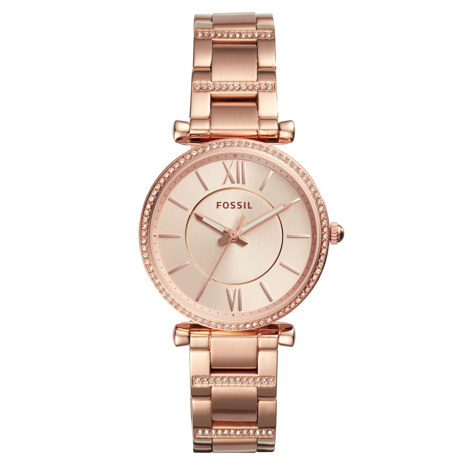 Fossil Carlie Ladies' Rose Gold Tone Bracelet Watch - Product number 4166671