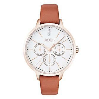 Hugo Boss Symphony Ladies' Rose Gold Tone Orange Strap Watch - Product number 4168682