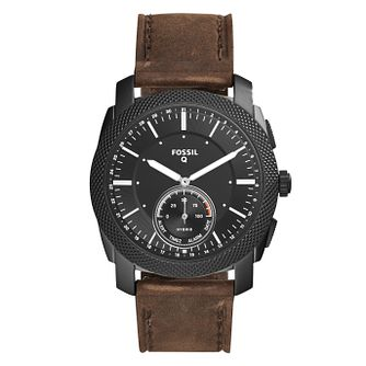 Fossil Q Machine Men's Brown Leather Strap Hybrid Smartwatch - Product number 4170628