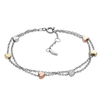 Fossil Heart Ladies' Tri-Tone Steel Double-Chain Bracelet - Product number 4170652