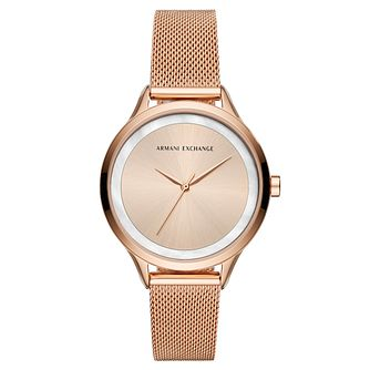 Armani Exchange Harper Ladies  Rose Gold Tone Bracelet Watch - Product  number 4172841 a4c8f5dd3313
