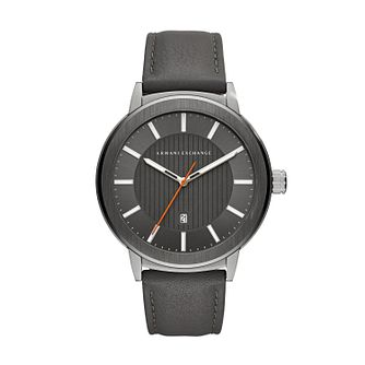 Armani Exchange Men's Grey Leather Strap Watch - Product number 4172892