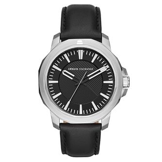Armani Exchange Men's Black Leather Strap Watch - Product number 4173392