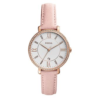 Fossil Jacqueline Ladies' Pink Leather Strap Watch - Product number 4173481
