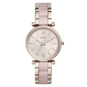Fossil Carlie Ladies' Pink Stainless Steel Bracelet Watch - Product number 4173511