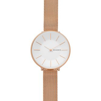 Skagen Karolina Ladies' Rose Gold Tone Steel Mesh Watch - Product number 4173813