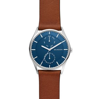 Skagen Holst Men's Brown Leather Strap Multifunction Watch - Product number 4173988