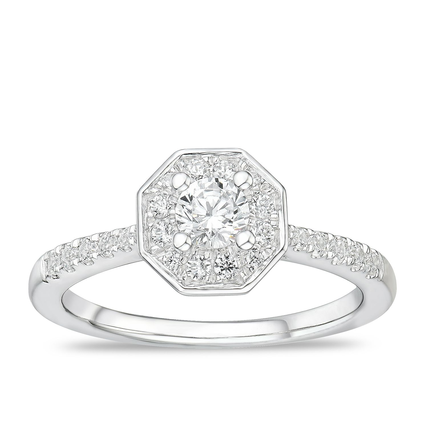 Tolkowsky 18ct White Gold 1/2ct Diamond Octagon Halo Ring - Product number 4175506