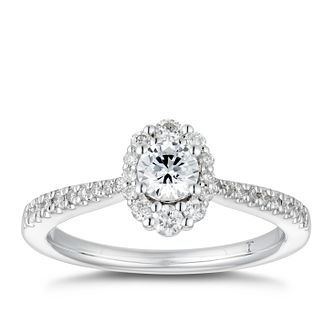 Tolkowsky 18ct White Gold 0.58ct Diamond Oval Halo Ring - Product number 4176146