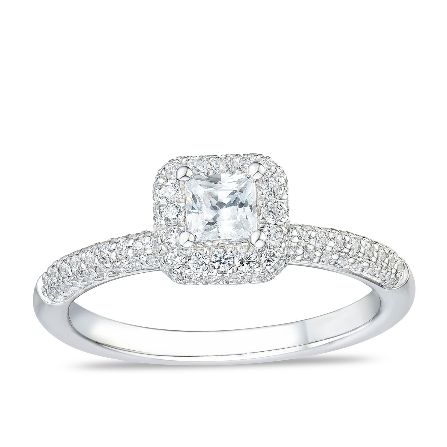 Tolkowsky 18ct White Gold 3/4ct Diamond Princess Halo Ring - Product number 4176391