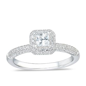 Tolkoswky 18ct White Gold 3/4ct Diamond Princess Halo Ring - Product number 4176391