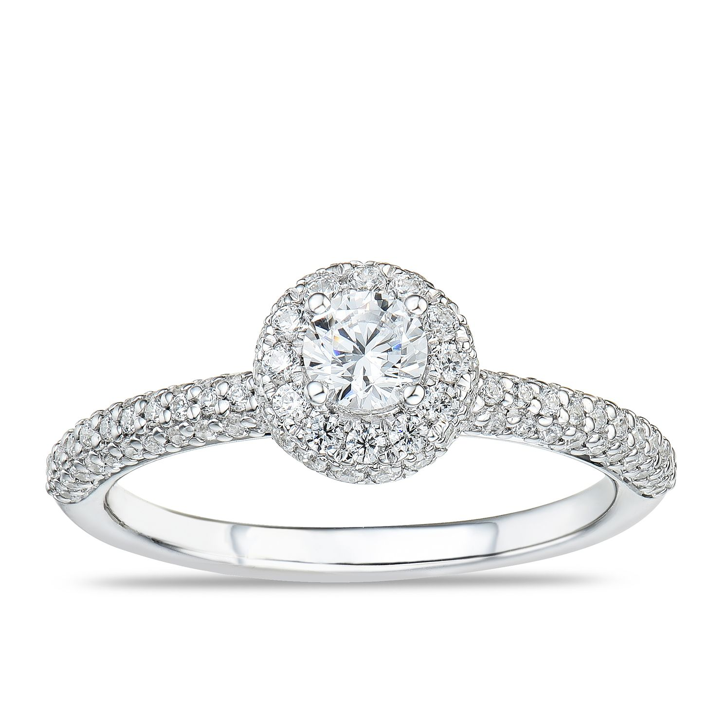 Tolkowsky 18ct White Gold 3/4ct Diamond Pave Halo Ring - Product number 4176669
