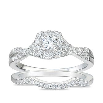 Tolkowsky 18ct White Gold 1/2ct Diamond Cushion Bridal Set - Product number 4176952