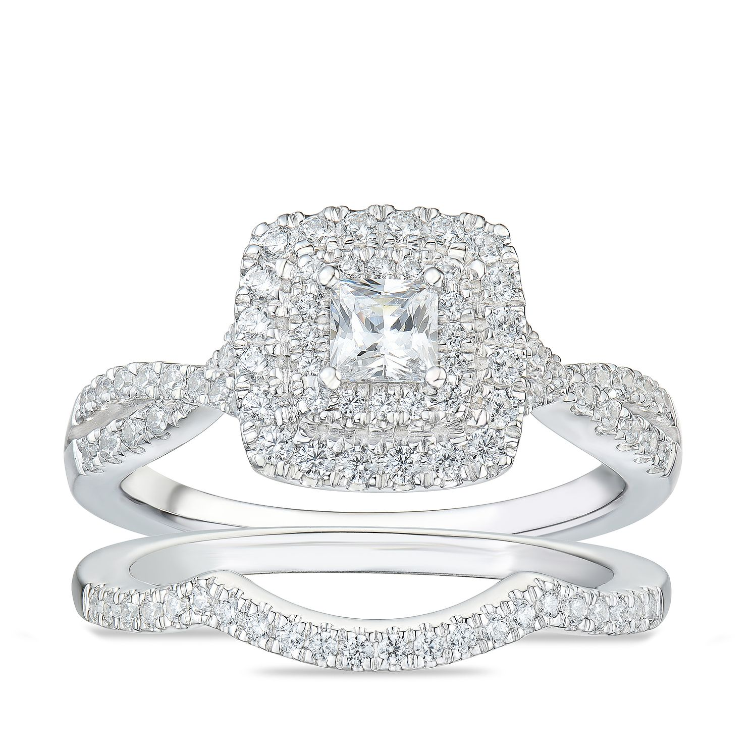 Tolkowsky 18ct White Gold 3/4ct Diamond Cushion Bridal Set - Product number 4177436