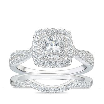 Tolkoswky 18ct White Gold 3/4ct Diamond Cushion Bridal Set - Product number 4177436