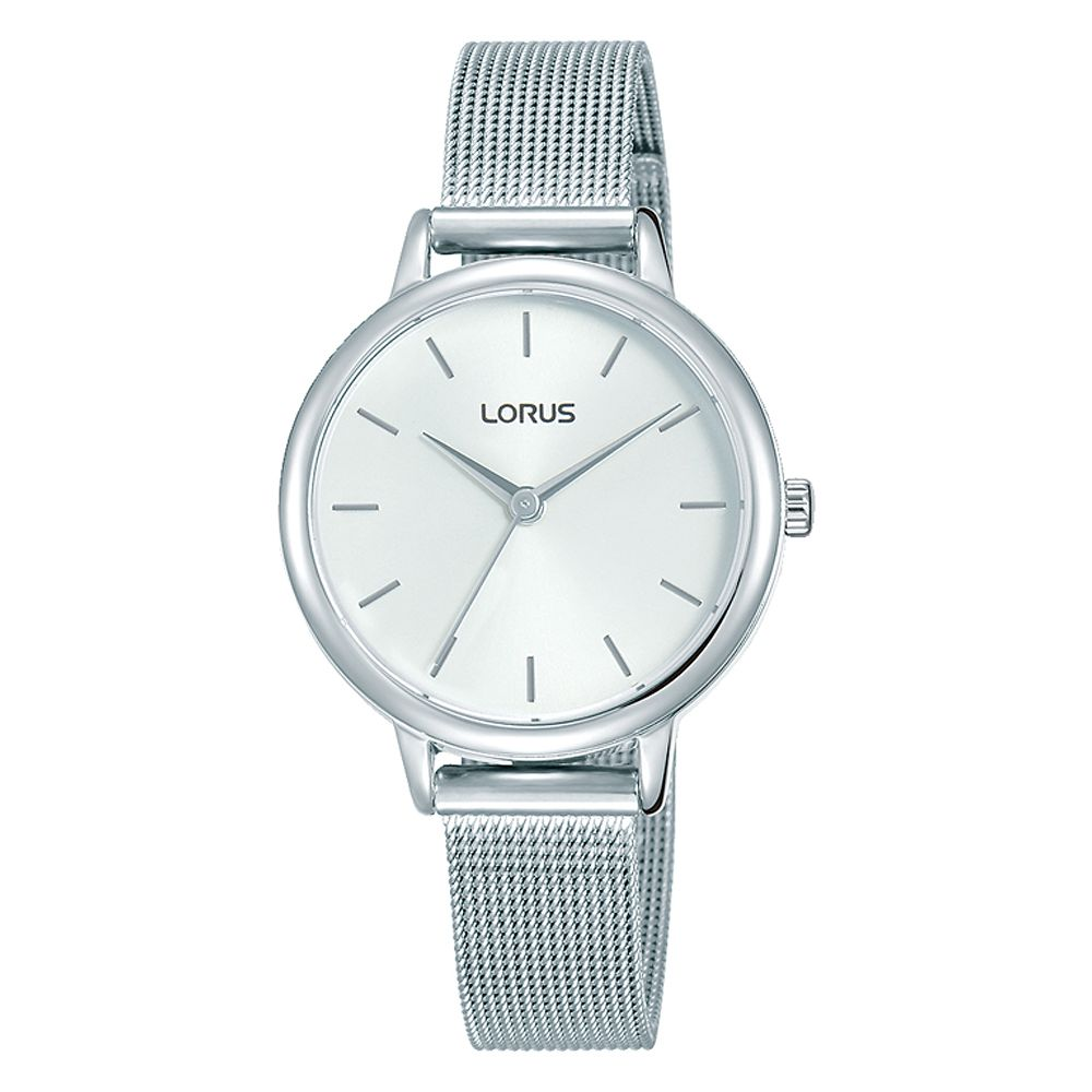 Lorus Ladies' White Dial Stainless Steel Mesh Bracelet Watch - Product number 4177495