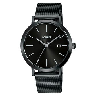 Lorus Men's Black Dial Ion Plated Mesh Bracelet Watch - Product number 4177541