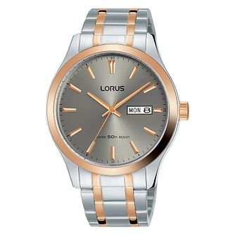 Lorus Men's Two Tone Grey Dial Bracelet Watch - Product number 4177568