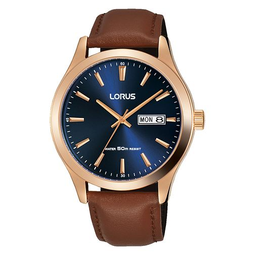 Lorus Men's Blue Dial Brown Leather Strap Watch - Product number 4177584