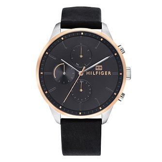 Tommy Hilfiger Men's Black Leather Strap Watch - Product number 4178262