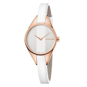 Calvin Klein Rebel Ladies' White Leather Strap Watch - Product number 4178653
