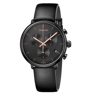 Calvin Klein High Noon Men's Black Leather Strap Watch - Product number 4178718