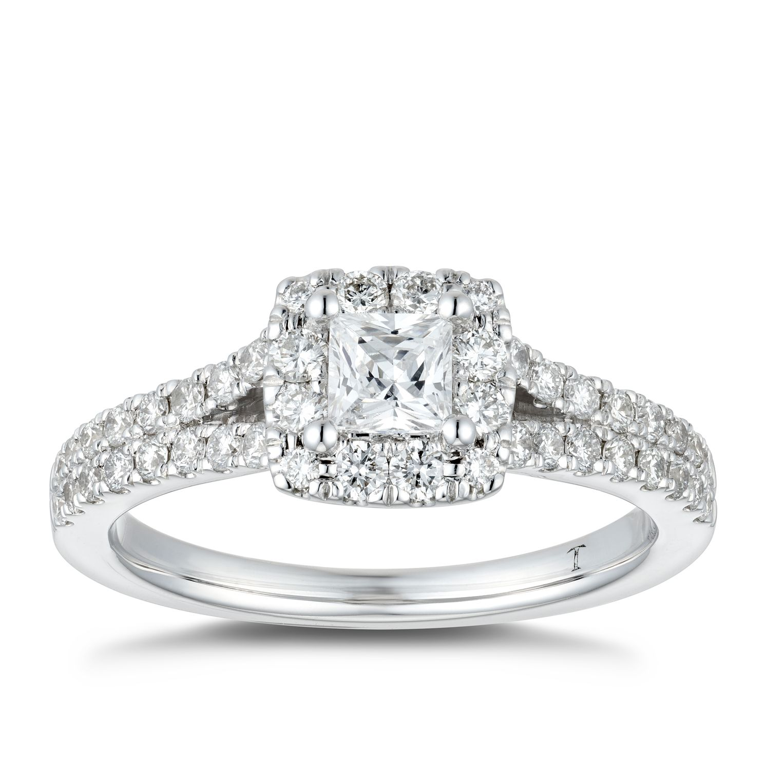 Tolkowsky18ct White Gold 0.85ct Diamond Princess Halo Ring - Product number 4182766